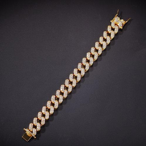 15mm Copper 2Row form Curb Cuban Bracelet Iced Out CZ Bracelet
