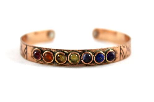 Bracelet avec les minéraux des 7 chakra - cuivre magnétique