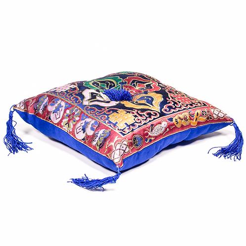 Coussin bleu double Dorge pour bol tibétain - 20x20cm