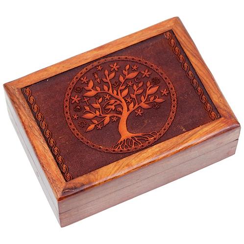 Coffret en bois - Arbre de Vie - 17.5x13x6.5 cm