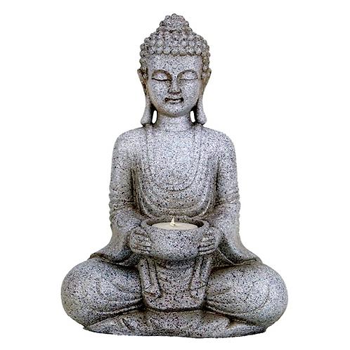 Bouddha méditant bougeoir couleur pierre - 27 cm