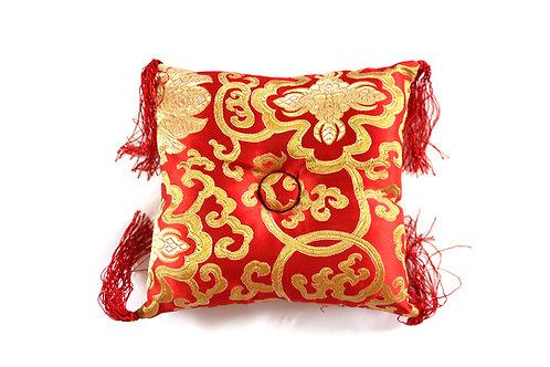 Coussin rouge fleuri pour bol tibétain 18x18x5 cm