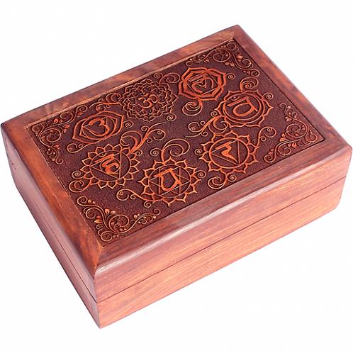 Coffret en bois - 7 chakras - 17.5x13x6.5 cm
