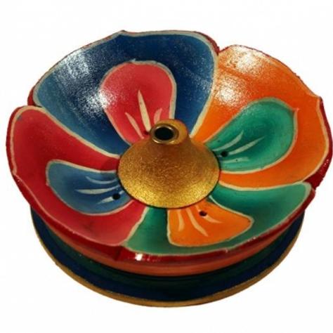 Brûle bâton d'encens lotus en bois coloré - 9 cm