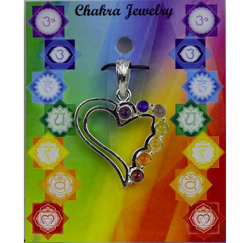 Pendentif cœur 7 Chakras laiton argenté - 3x3 cm