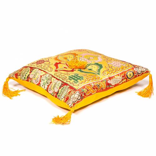 Coussin jaune double Dorge pour bol tibétain - 20x20cm