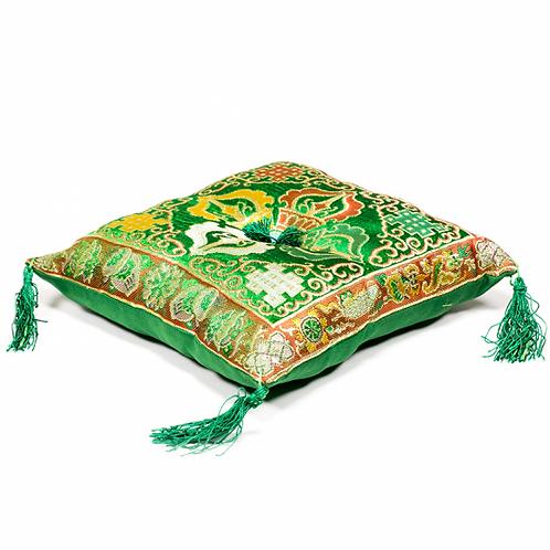 Coussin vert double Dorge pour bol tibétain - 20x20cm