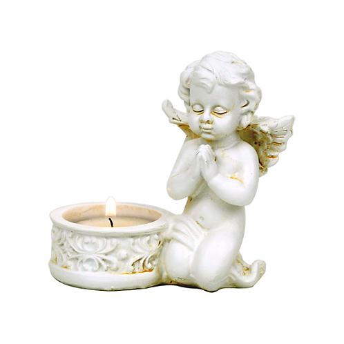 Ange bougeoir Cupidon, yeux fermés - 10x9 cm
