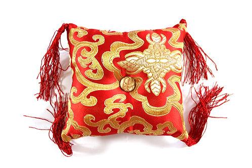 Coussin rouge fleuri pour bol tibétain 12x12x4 cm