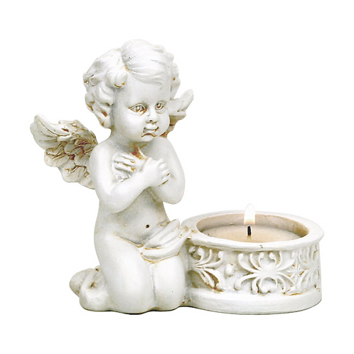 Ange bougeoir Cupidon, yeux ouverts - 10x9 cm