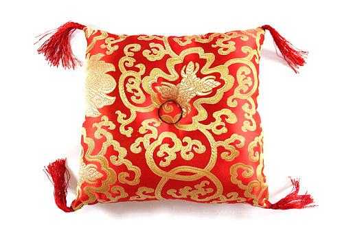 Coussin rouge fleuri pour bol tibétain 24x24x6cm