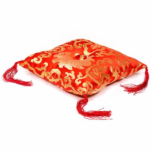 Coussin rouge fleuri pour bol tibétain 14X14cm