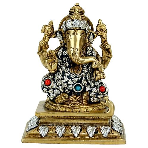 Statuette Ganesh en laiton - 14 cm