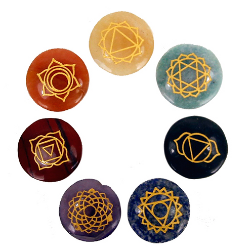 SET 7 Pierres dures rondes plates symboles chakra - 3.5 cm