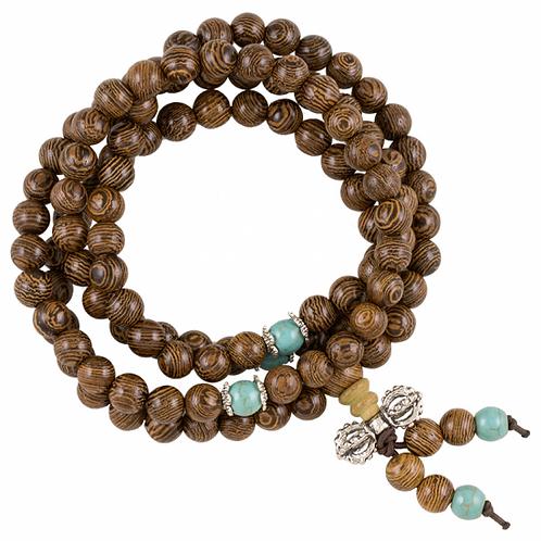 Mala de bois avec perles ornementales et dorje