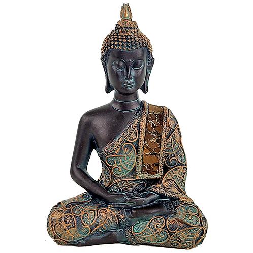 Bouddha en méditation finitions antiques - 10×6×15 cm