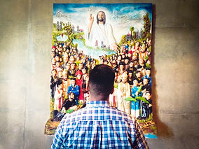 Man staring at saints