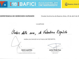 Premio Menzione Speciale della Giuria a Ombre della sera - Bafici 2016 Buenos Aires - Selezione Uffi