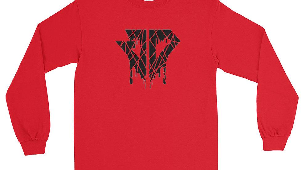 JD Cracked Drip Logo Men's Long Sleeve Shirt