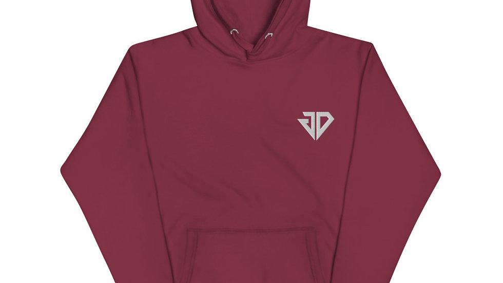 White Small JD Logo Unisex Hoodie
