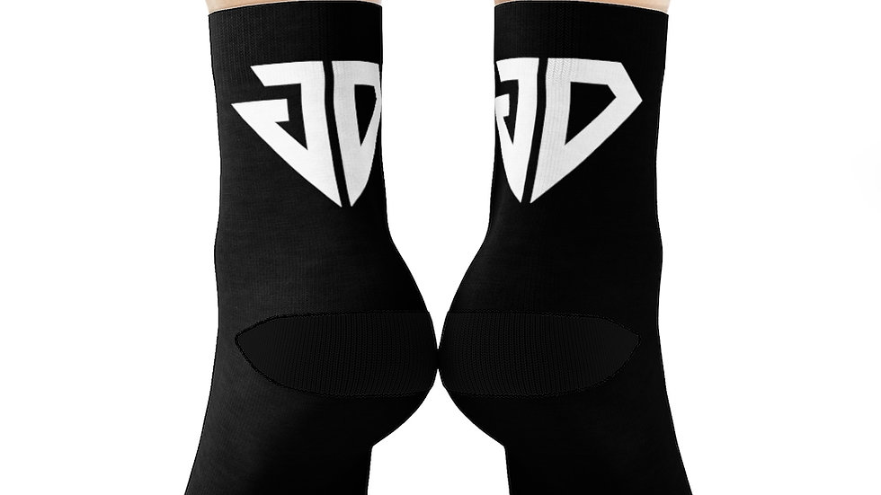White Logo Crew Socks (Black)