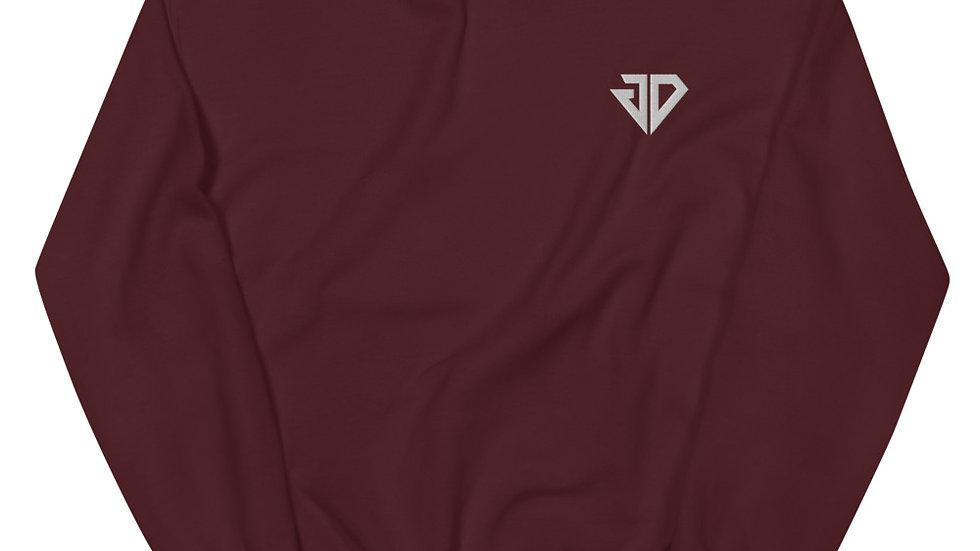 White Small JD Logo Unisex Sweatshirt