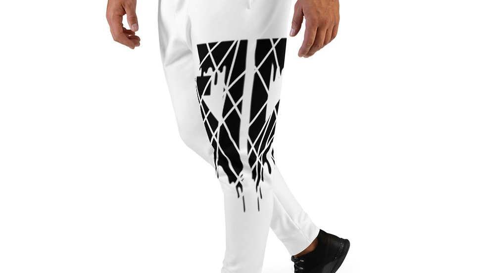 JD Cracked Drip Logo Men's Joggers (White)