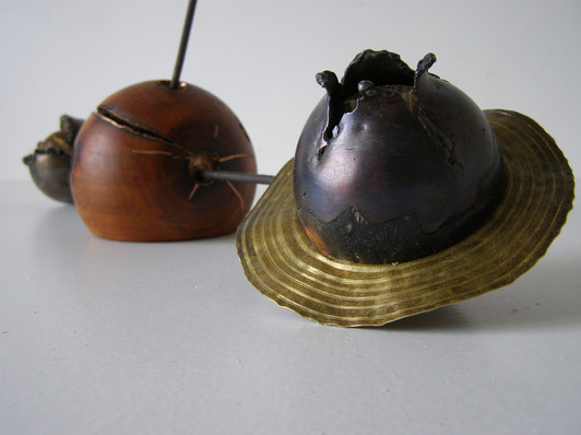 Mintaka delta. Blued steel, electroplated patterned bronze and oregon