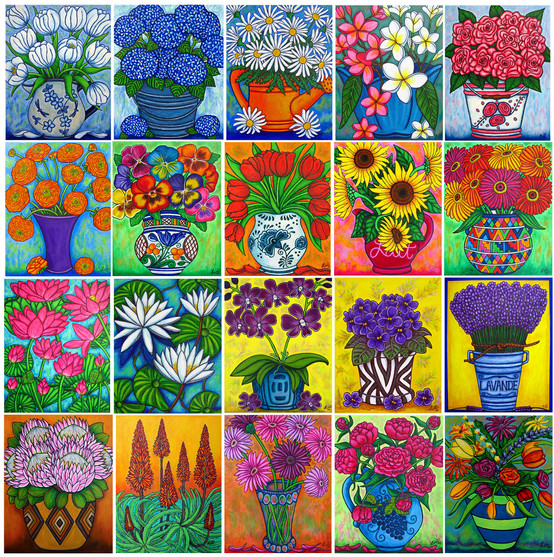 Collage of my some my funky floral paintings