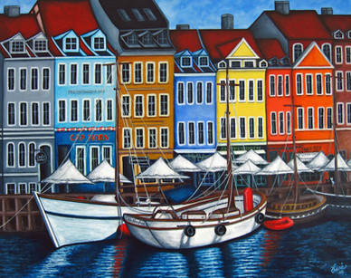 Colours of Nyhavn, 93 x 73 cm, Private Collection