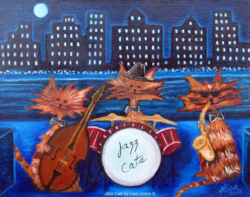 Commission Painting: Jazz Cats, SOLD 40 x 50 cm