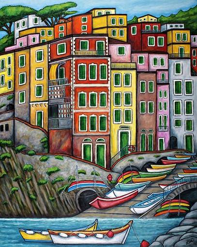 Colours of Riomaggiore, Cinque Terre, 61 x 76 cm,