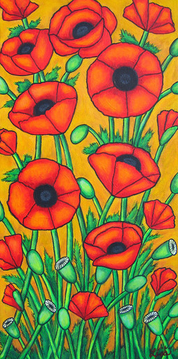 Tuscan Poppies II, 30 x 60 cm, SOLD
