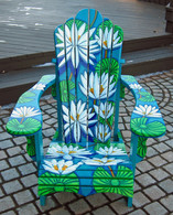 Pond Jewel Painted Chair, Donated to Auction for Cancer Society