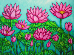 Lotus Bliss Garden, 60 x 80 cm