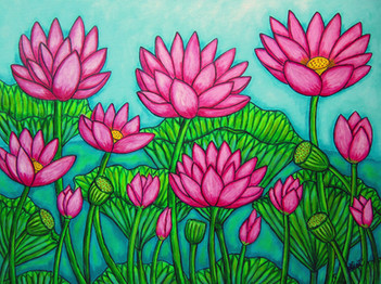 Lotus Bliss Garden, 60 x 80 cm