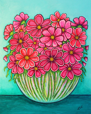 Pretty in Pink Cosmos, 40 x 50 cm