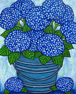 Hydrangea Blue, 40 x 50 cm, SOLD
