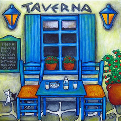 Table for Two - Greek Taverna, 30 x 30 cm