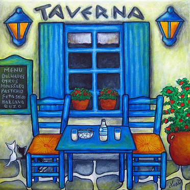 Table for Two - Greek Taverna, 30 x 30 cm, SOLD