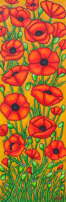 Tuscan Poppies I 30 x 90 cm, SOLD