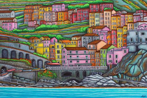 Colours of Manarola, Cinque Terre, 61x91cm