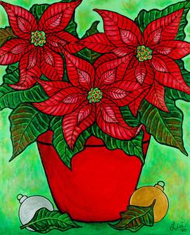 Poinsettia Season, 40 x 50 cm, SOLD