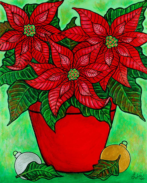 Poinsettia Season, 40 x 50 cm, SOLD