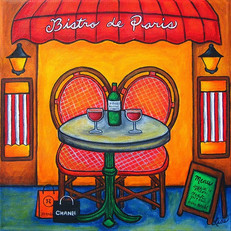 Table for Two Paris Bistro, 30 x 30 cm, SOLD