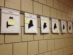 Student work displayed with Look-For