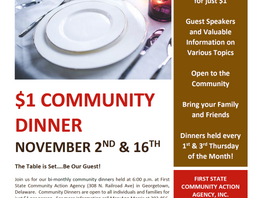 November Community Dinners at First State