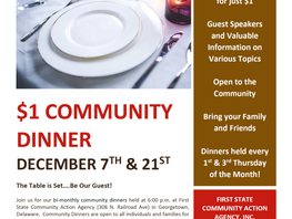December Community Dinners at First State