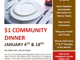 January Community Dinners at First State