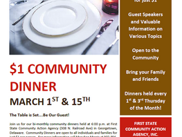 March Community Dinners at First State